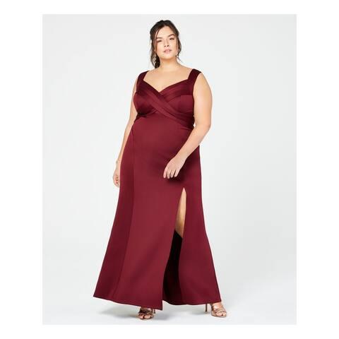 EMERALD SUNDAE Womens Burgundy Sleeveless V Neck Maxi Sheath Formal Dress Plus Size: 2X