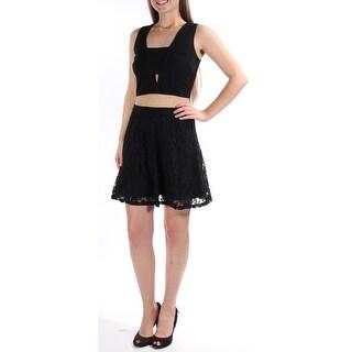 Womens Black Floral Sleeveless Mini ALine Dress Size: 1