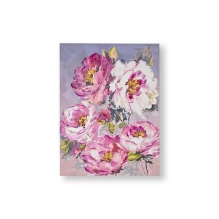 "Graham and Brown 104013  Chelsea Blooms 32"" x 24"" Frameless Botanical Painting on Stretched Canvas - Pink"