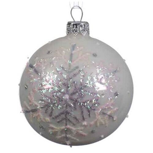 White Snowflake Ball Ornament