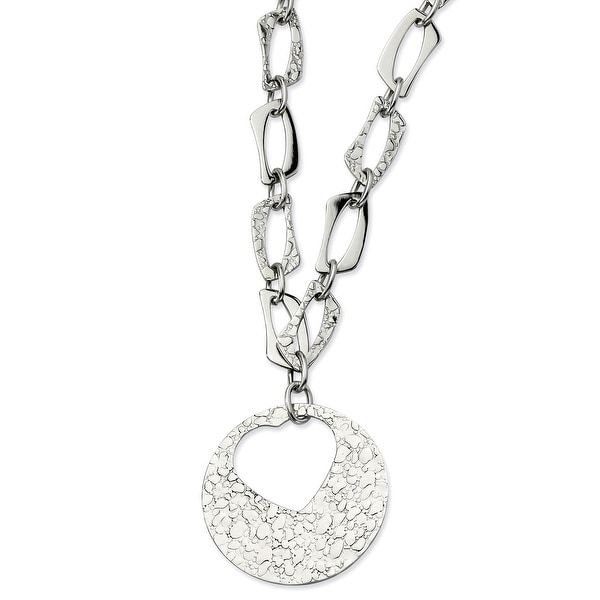 Chisel Stainless Steel Polished & Textured with Heart Cutout Pendant 22 with 2 Inch Extension Necklace (11 mm) - 22 in