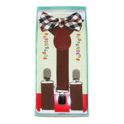 CTM® Infant or Kids' Rustic Brown Plaid Bow Tie and Suspender Set