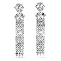 Bling Jewelry CZ Art Deco Style Bridal Chandelier Earrings Rhodium Plated
