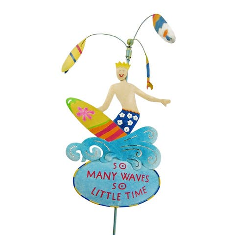 Cool Surfing Motif Spinning Garden Stake Surf - 36 X 10 X 1 inches