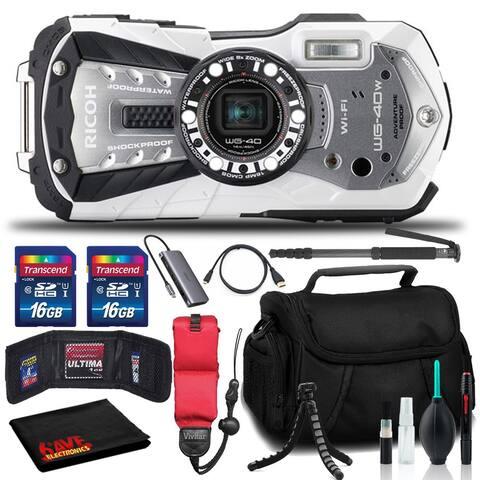 RICOH WG-40W Waterproof Digital Camera with Memory Kit, Float, Tripod,