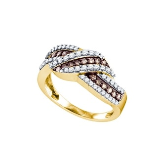 10k Yellow Gold Cognac-brown Colored Diamond Crossover Fine Cocktail Fashion Band Ring 3/4 Cttw - Brown/White