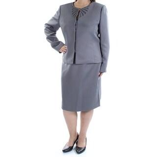 TAHARI $320 Womens New 1141 Gray Beaded Pencil Skirt Suit 18 B+B