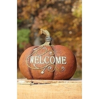 "6"" Autumn Harvest Orange and Brown ""Welcome"" Pumpkin Thanksgiving Table Top Decoration"