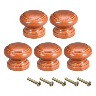Cabinet Round Pull Knobs 28mm Dia Bedroom Kitchen Red Elm Wood 5pcs - 28mmx23mm(D*H)-5pcs