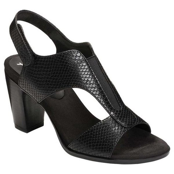 ea5cee5d7d1b A2 by Aerosoles Women  x27 s Power Yoga Slingback Sandal Black Snake Faux  Leather