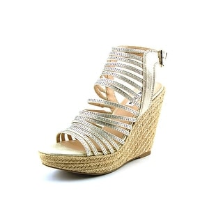 Steve Madden Garrden Women Open Toe Canvas Gold Wedge Sandal