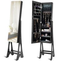 Costway LED Jewelry Cabinet Armoire Organizer Mirrored Standing w/ Bevel Edge Mirror - Black