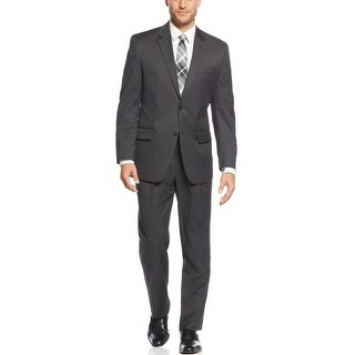 Izod Regular Fit Charcoal Solid 2-pc Suit 40 Regular 40R Pleated Pants 33W
