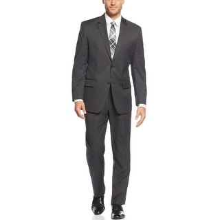 Izod Regular Fit Charcoal Solid 2pc Suit 40 Long 40L Pleated Pants 33W