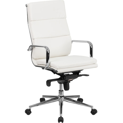 Silkeborg High Back White Leather Stylish Executive Swivel Chair w/Synchro-Tilt Mechanism & Arms