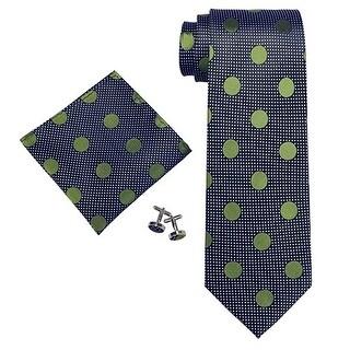 Men's Navy Blue Green Polka Dots 100% Silk Neck Tie Set Cufflinks & Hanky