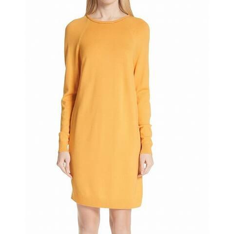 St. John Womens Dress Yellow Size Medium M Sweater Embellished Neck