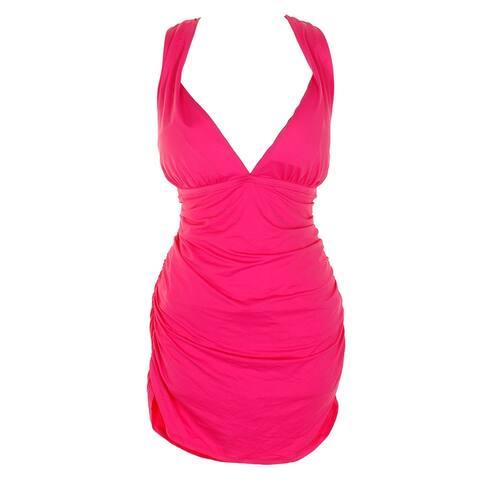 Lauren Ralph Lauren Plus Size Pink Plunging Halter Swimdress 20W