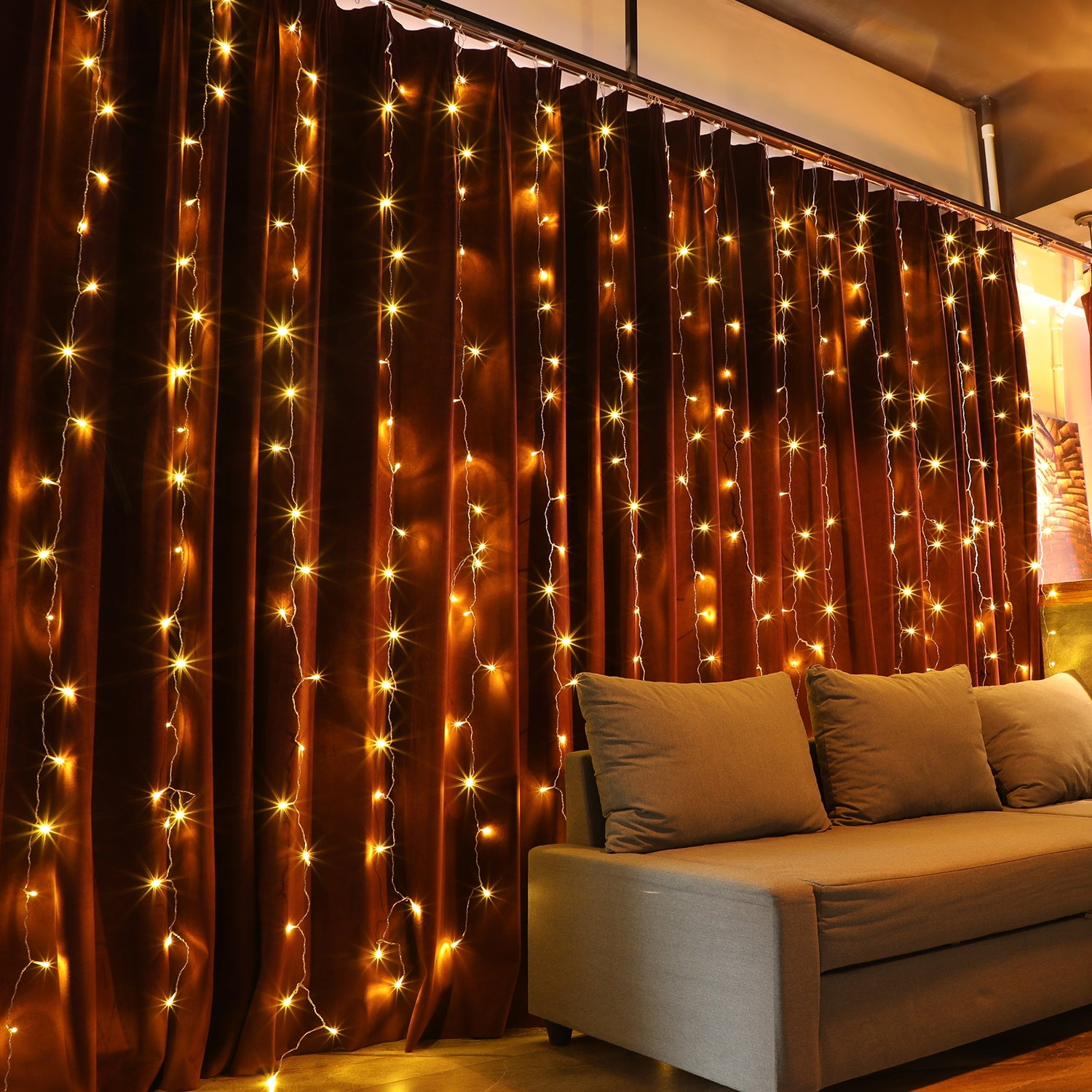 29 LEDs Christmas Window Curtain String Lights, 29 Modes, Warm White/Pure  White