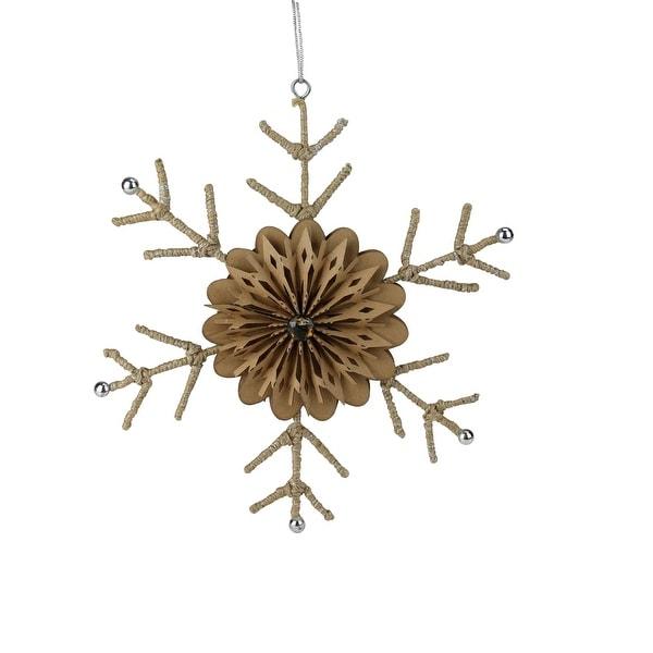 "10"" Urban Nature Large Rustic Snowflake Christmas Ornament - brown"