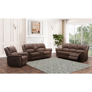 Link to Abbyson Thompson Fabric Manual Reclining Sofa Set Similar Items in Living Room Furniture