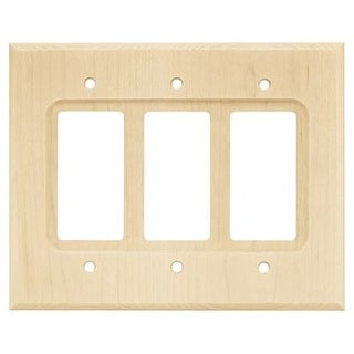 Franklin Brass W10848-C Wood Square Triple Rocker / GFI Outlet Wall Plate - unfinished wood