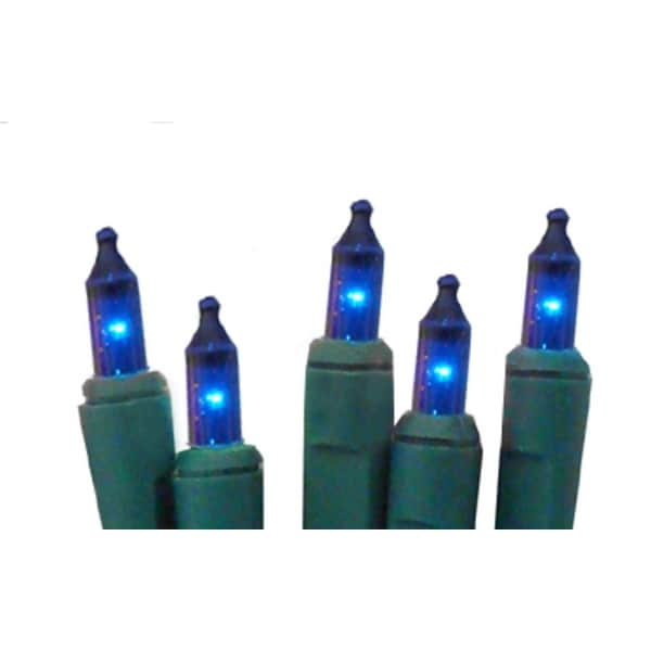 Set of 10 Battery Operated Blue Mini Christmas Lights - Green Wire