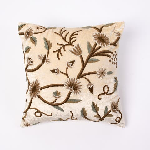 Cottage Home Crewel Embroidery 20 Inch Throw Pillow