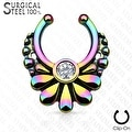 316L Surgical Steel Fake Septum Hanger Flower with Crystal Center (Sold Ind.) - Thumbnail 1