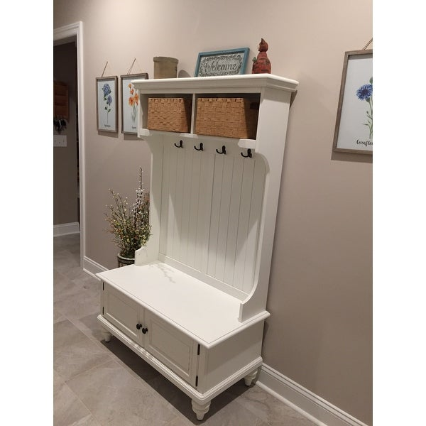 Home Styles Bermuda White Hardwood Hall Stand With Storage Bench On Free Shipping Today 7025626