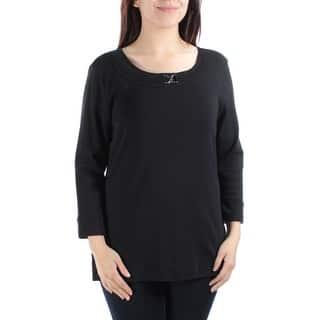 5b4de5e167d KAREN SCOTT Womens Blue Long Sleeve Jewel Neck Top Size  S. SALE. Quick View
