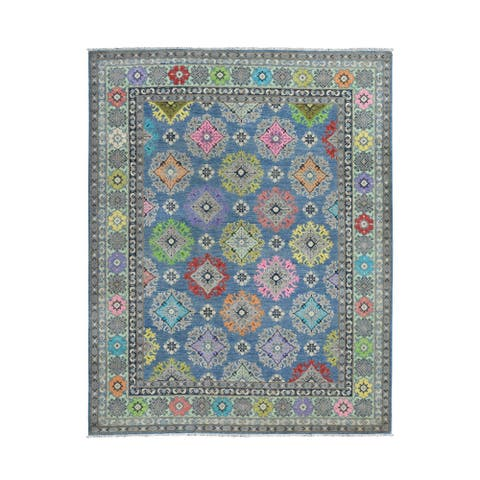 "Shahbanu Rugs Colorful Blue Fusion Kazak Pure Wool Hand Knotted Oriental Rug (7'10"" x 10'0"") - 7'10"" x 10'0"""