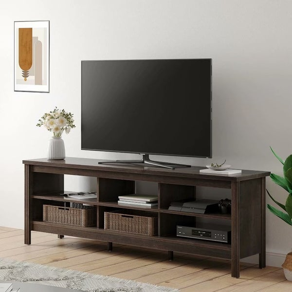 Farmhouse Wood TV Stand for 75 inch Flat Screen, TV console,70inch - 73 inches. Opens flyout.