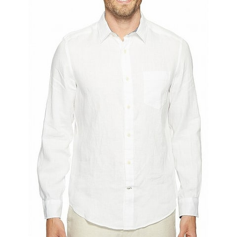 Nautica White Mens Size Small S One Pocket Linen Button Down Shirt