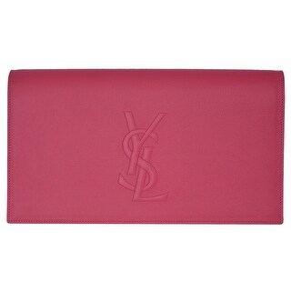 Saint Laurent YSL 361120 Pink Leather Large Belle de Jour Clutch Handbag