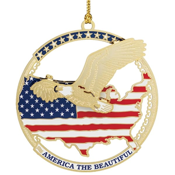 "3"" 24K Gold Patriotic Flag ""America the Beautiful"" Christmas Ornament"
