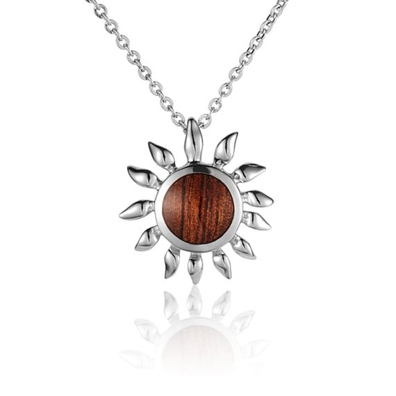 "Sunflower Necklace Koa Wood Sterling Silver Flower Pendant 18"" Chain"