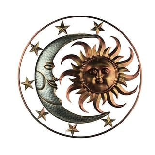 Metal Celestial Sun Moon and Stars Indoor/Outdoor 30 inch Wall Hanging Art Decor