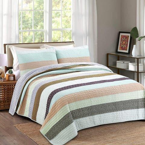 Cozy Line Striped Cotton Reversible 3-Piece Quilt Bedding Set