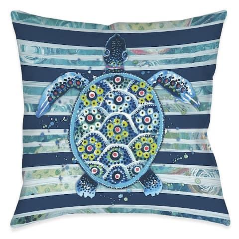 Blue Ocean Turtle Outdoor Pillow