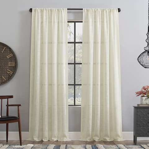 Clean Window Basketweave Anti-Dust Semi-Sheer Curtain Panel