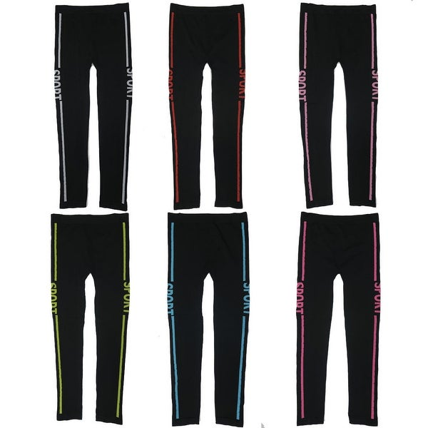 "Women's 6 Pack Seamless Double Stripes ""SPORT"" Athletic Sports Yoga Full Length Leggings"