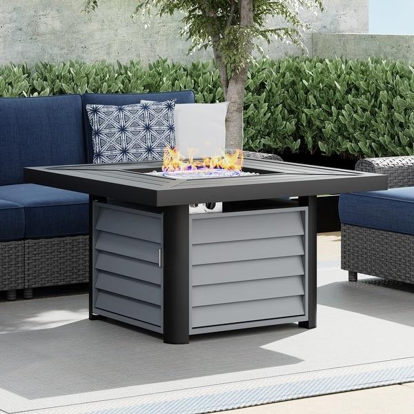 Corvus Abruzzo 42 Inch Square Aluminum Propane Fire Pit Table. Opens flyout.