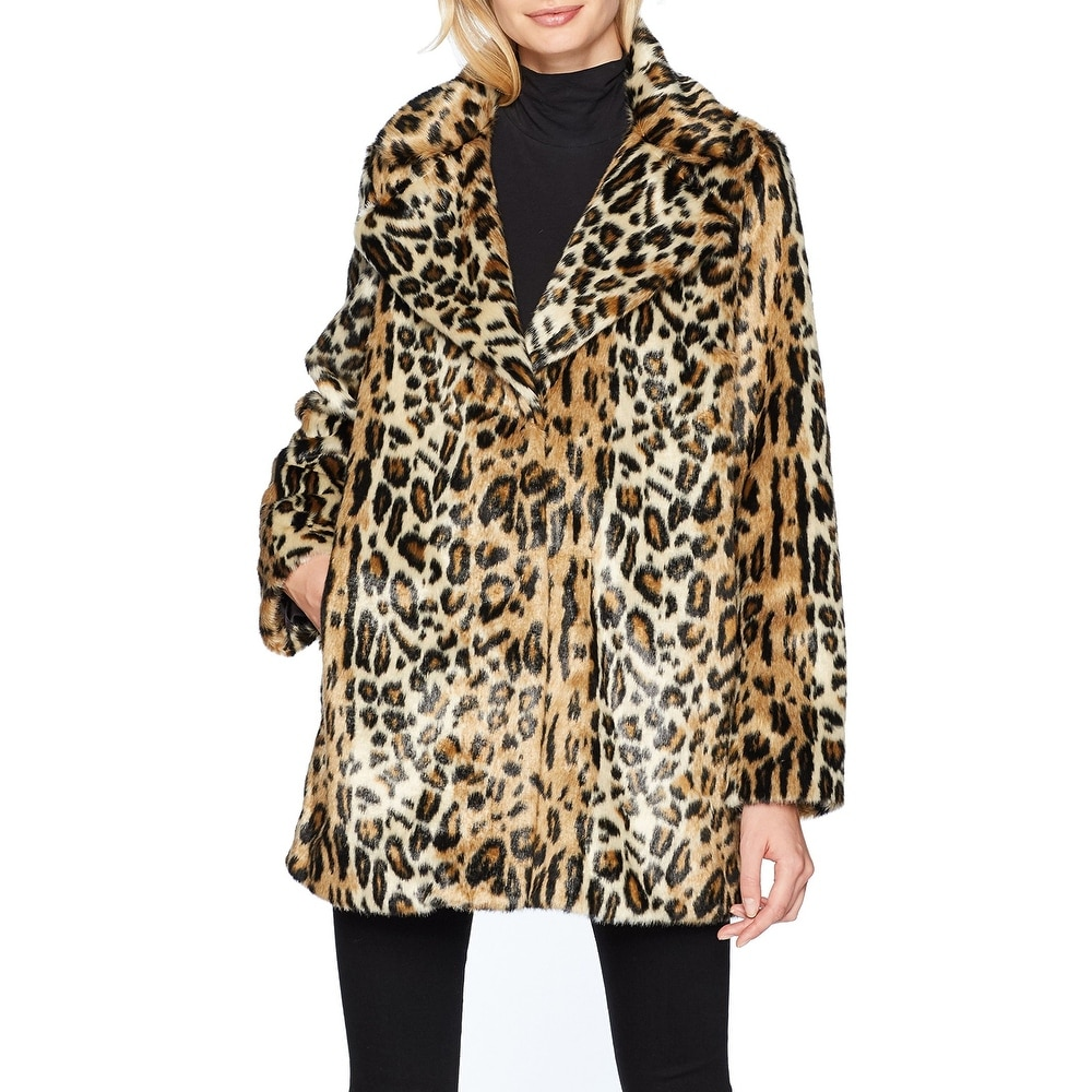 Kenneth Cole Womens Animal Faux Fur Coat