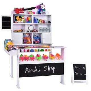 Gymax Wooden Toy Shop Market Shopping Pretend Play Set Toddler Kids Birthday Gift