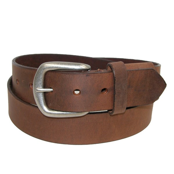 Boston Leather Men's Big & Tall Aged Bark Chieftain Leather Hidden Stretch Belt