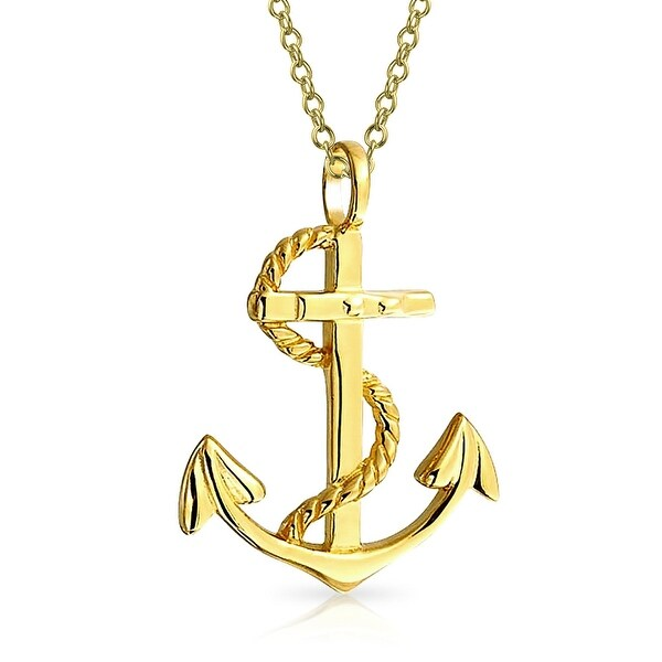 e023c3c2da44 Nautical Ship Boat Anchor Twisted Rope Pendant Necklace For Men Women 14K  Gold Plated 925 Sterling Silver 1.25 Inch