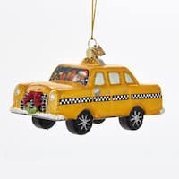 """Pack of 8 Santa in a Taxi Cab Christmas Ornament 5.5"""" - black"""