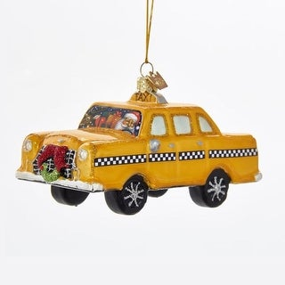 """Pack of 8 Santa in a Taxi Cab Christmas Ornament 5.5"""""""