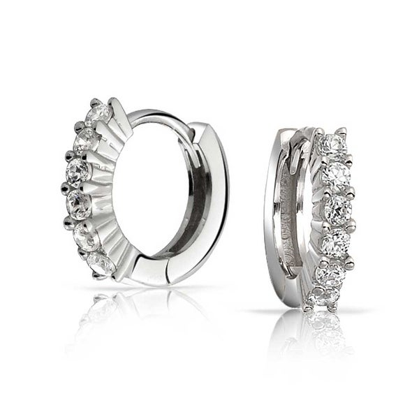 1eef0bcecd398 5 Solitaire Prong Set CZ Small Kpop Huggie Hoop Earrings For Women For Men  Round Cubic Zirconia 925 Sterling Silver